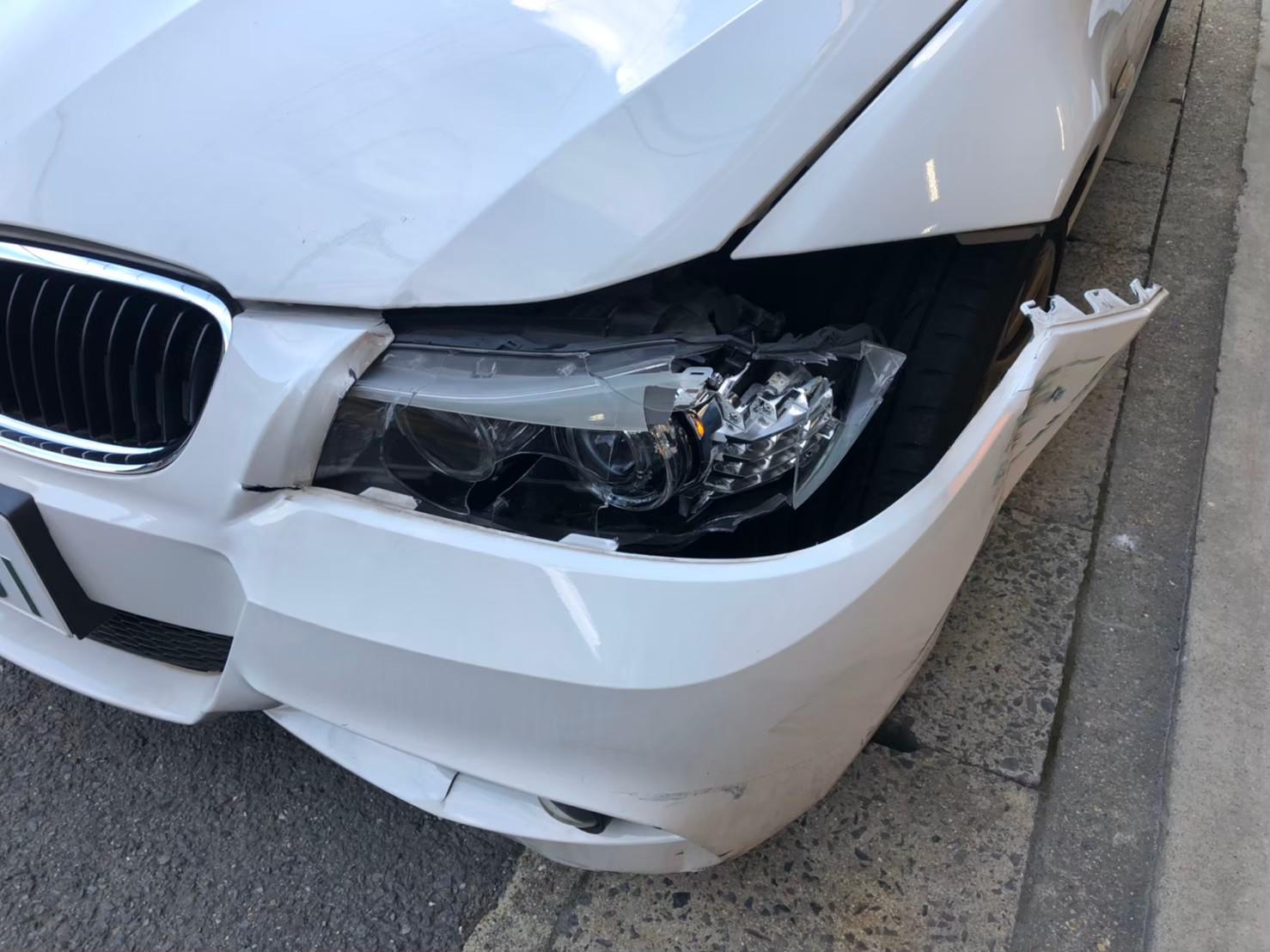 BMW 京都市内にお住まいの方より フロントバンパー左前の修理